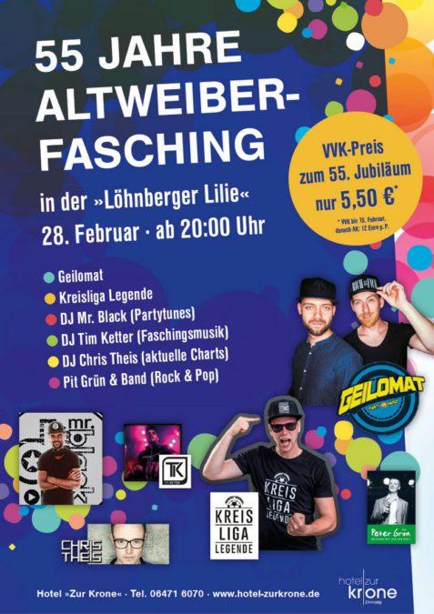 28 02 2019 55 Jahre Altweiber Fasching Hotel Zur Krone